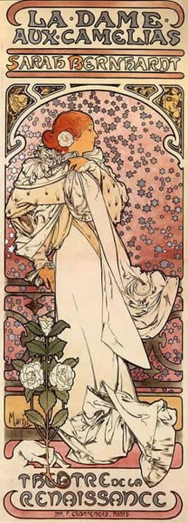 Alphonse Mucha La Dame aux Camélias, 1896. Lithographie mise en couleur, 207,3 x 72,2 cm. The Mucha Trust Collection.