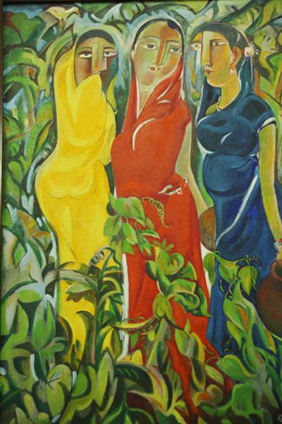 Shilpi Quamrul Hasan, Three Daughters, 1983. Öl auf Leinwand, 106,7 x 76,2 cm. Nationalmuseum Bangladesch, Dhaka.