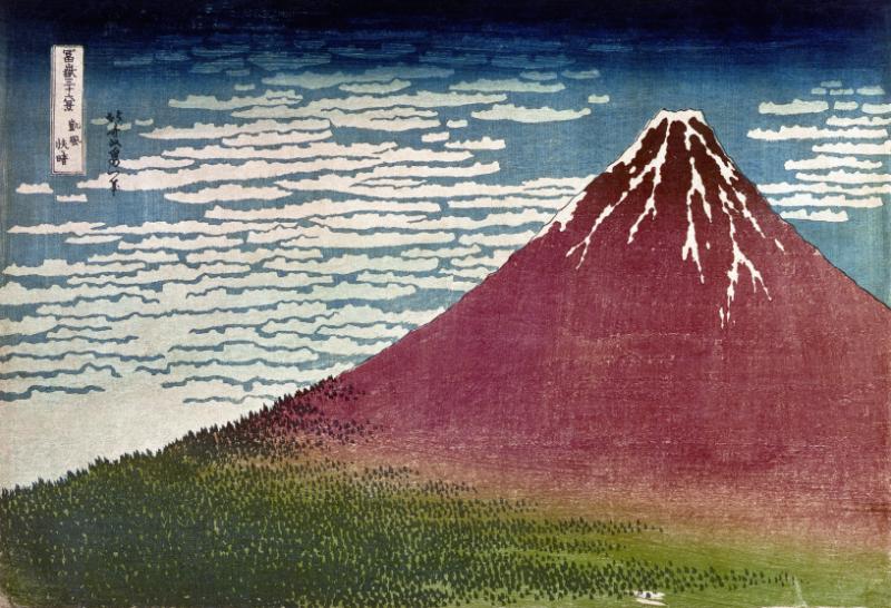 Katsushika Hokusai, Frischer Wind am hellen Morgen oder Gaifu kaisei (Der rote Fuji), aus der Serie Fugaku sanjūrokkei (Die Sechsunddreißig Ansichten des Berges Fuji), um 1830. Nishiki-e (Farbholzschnitt), 26,1 x 38,2 cm (ōban). British Museum, London.