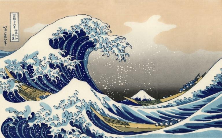 Katsushika Hokusai, Kanagawa oki nami ura (Die große Welle von Kanagawa), aus der Serie Fugaku sanjūrokkei (Die sechsunddreißig Ansichten des Berges Fuji), um 1830-1832. Nishiki-e (Farbholzschnitt), 25,9 x 38 cm. The Metropolitan Museum of Art, New York.