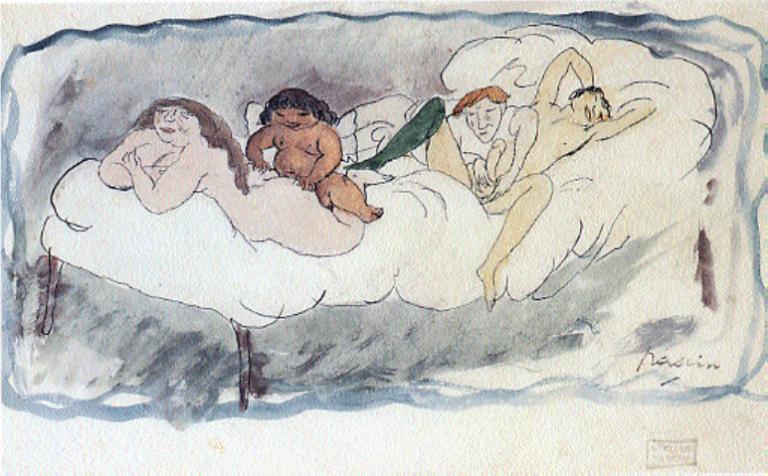 Quatre Personnes sur un lit, 1907 Aquarelle sur papier, 12 x 21 cm Collection particulière