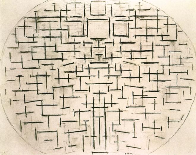 Jetée et océan 4, 1914. Fusain sur papier, 51 x 63 cm. Gemeentemuseum Den Haag, La Haye.