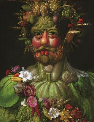 Giuseppe Arcimboldo, Vertumnus (Emperor Rudolf II), 1590. Oil on wood, 70.5 x 57.5 cm. Skoklosters Slott, Bålsta (Stockholm)