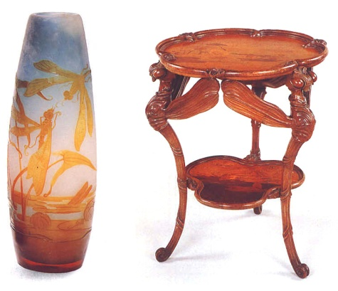1. Vase by Émile Gallé Cameo glass vase with dragonflies  and lilys, 1900 Musée de l'Ecole de Nancy, Nancy 2.  Table by Emile Gallé  Height 75 cm, 1900 Musée de l'Ecole de Nancy, Nancy