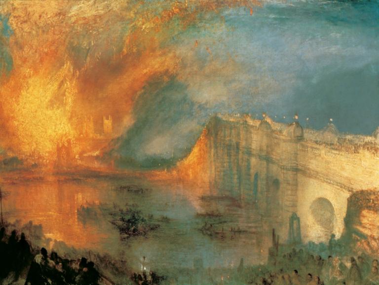 J.M.W. Turner, L'incendie du Parlement à Londres, 1835. Huile sur toile, 92,1 x 123,2 cm. Philadelphia Museum of Art, Philadelphie.