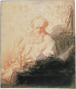 Rembrandt Harmensz van Rijn, Saint Paul Meditating, c. 1627-1629. Red chalk with white highlights and Indian ink wash, 23.7 x 20.1 cm. Musée du Louvre, Paris