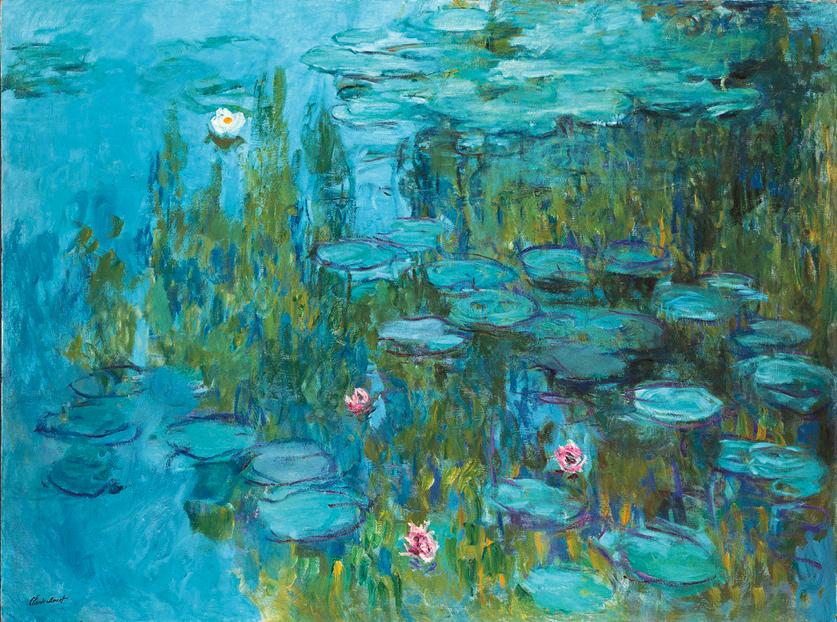 Claude Monet, Seerosen (Nympheas) um 1915. Öl auf Leinwand. 151,4 x 201 cm. Neue Pinakothek, Bayerische Staatsgemäldesammlungen, München.
