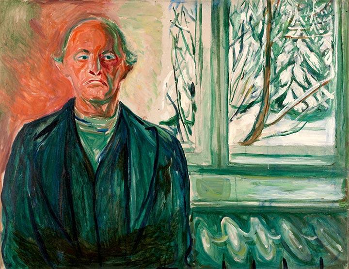 2Edvard Munch, Autoportrait à la fenêtre, vers 1940. Huile sur toile, 84 x 108 cm. Munch-museet, Oslo.