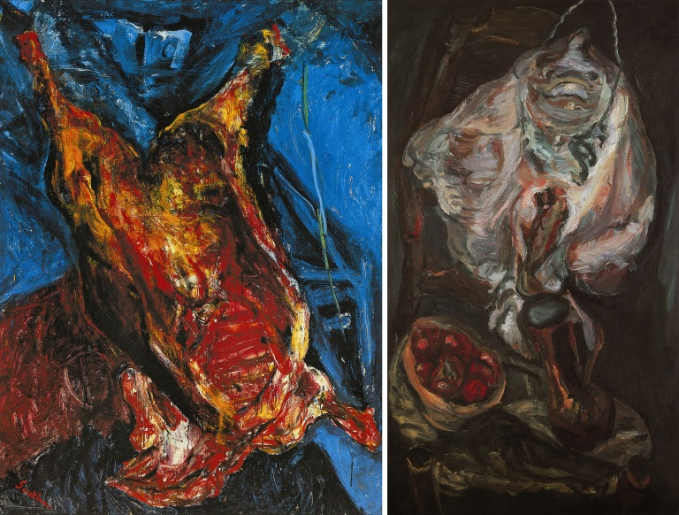Chaïm Soutine, Carcasse de bœuf, vers 1925. Huile sur toile, 156,21 x 122,55 cm (avec cadre). Albright-Knox Art Gallery, Buffalo (New York).  Chaïm Soutine, La Raie, vers 1922. Huile sur toile, 81 x 47,5 cm. Musée Calvet, Avignon.