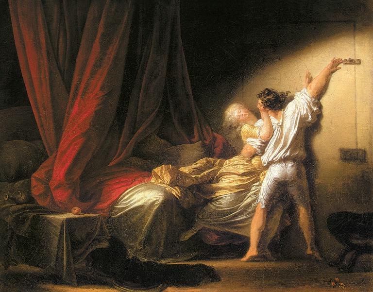 Le Verrou. vers 1777. Huile sur toile, 74 x 94 cm. Musée du Louvre, Paris.