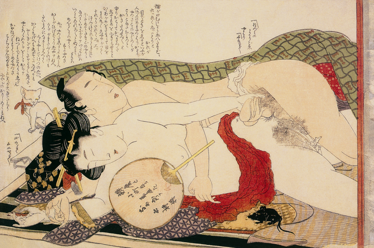 Katsushika Hokusai, Shunga: Drawing of a Couple in Love, c. 1780. Colour woodblock print, 24.9 x 37.4 cm. Honolulu Academy of Arts, Honolulu
