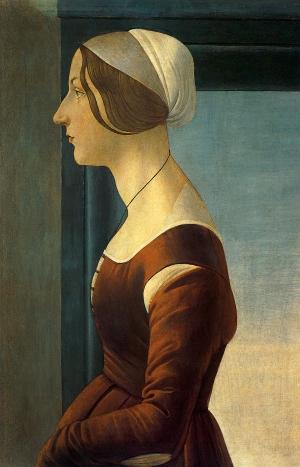 Porträt einer jungen Frau, um 1475. Tempera auf Tafel, 61 x 40 cm. Galleria Palatina (Palazzo Pitti), Florenz.