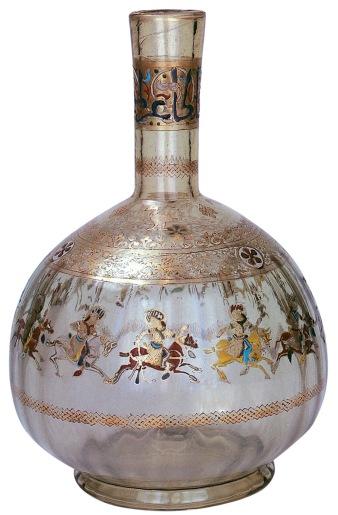 Flasche mit Polospielern, Syrien, 1300. Emailliertes Glas. Museum für Islamische Kunst, Berlin.