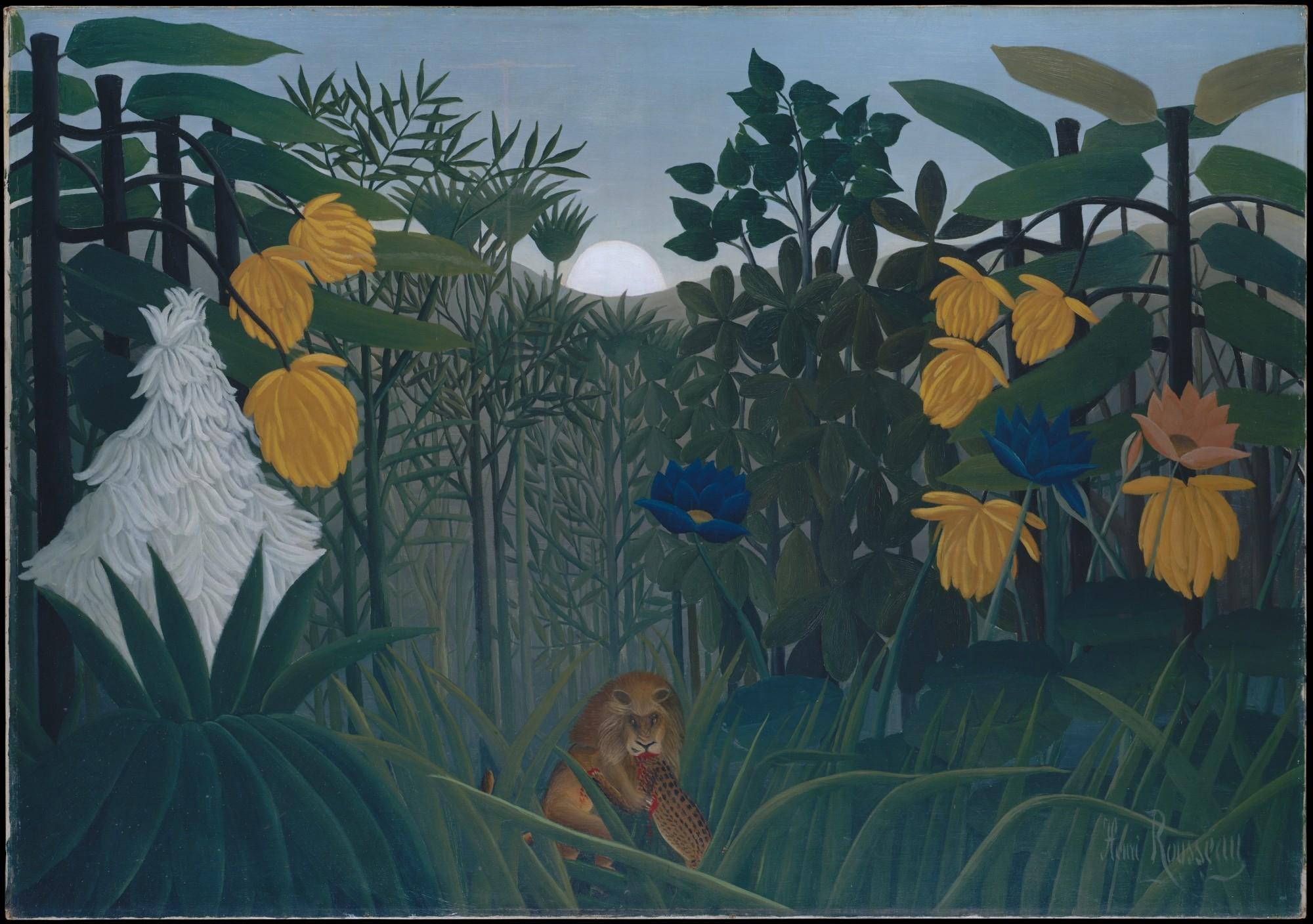 Henri Rousseau, Das Mahl des Löwen, um 1907. Öl auf Leinwand, 113,7 x 160 cm. The Metropolitan Museum of Art, New York.