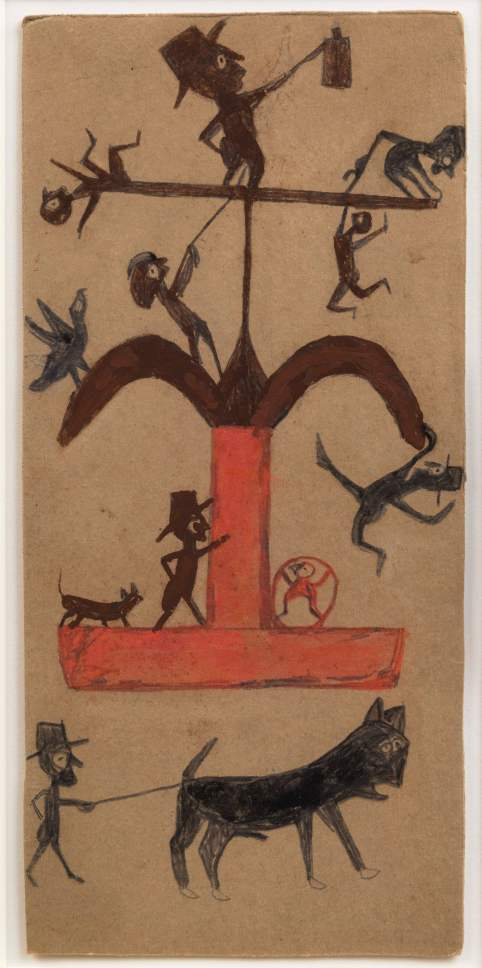 Bill Traylor, Ohne Titel (Figur: Konstruktion, Schwarz, Braun, Rot), 1940-1942. American Folk Art Museum, New York.