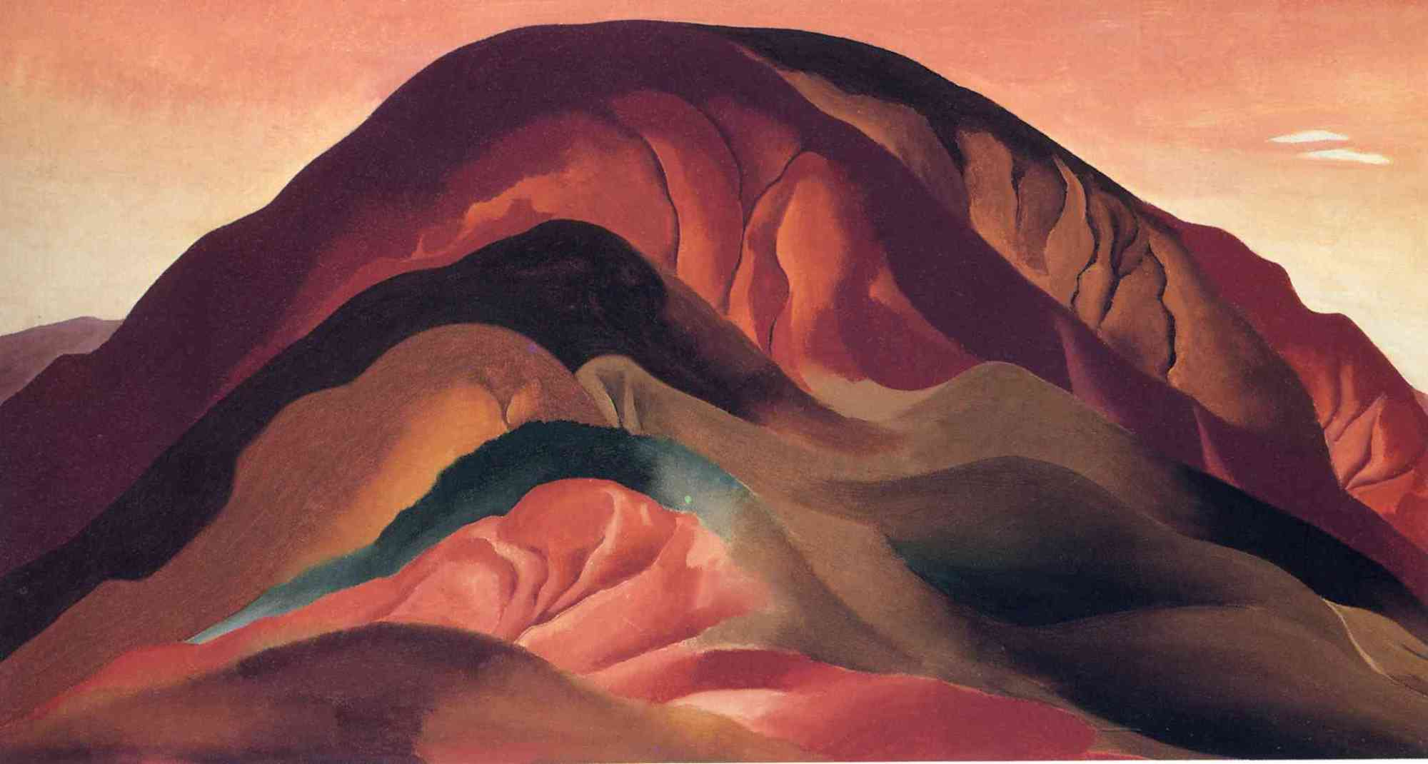 Georgia O'Keeffe, Rust Red Hills (Les Collines rouges), 1930. Huile sur toile, 40 x 76,2 cm. Sloan Fund Purchase. Brauer Museum of Art, Valparaiso. 62.02