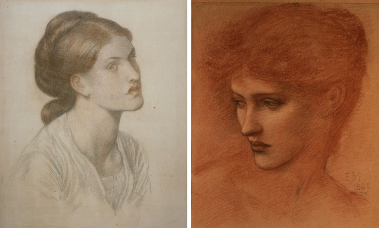 Dante Gabriel Rossetti, Jane Burden Morris, date inconnue. Craie colorée, 55,9 x 47,8 cm. Los Angeles County Museum of Art, Los Angeles.  Edward Burne-Jones, Étude pour une tête de femme, 1889.