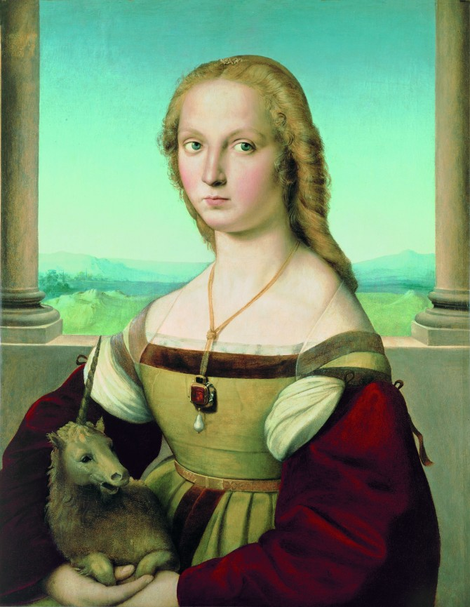 Raphael (1483–1520), Portrait of a Lady with a Unicorn, ca. 1505–1506.   Oil on canvas, transferred from panel, 26 5/8 x 20 15/16 in. (67.7 x 53.2 cm). Galleria Borghese, Rome.