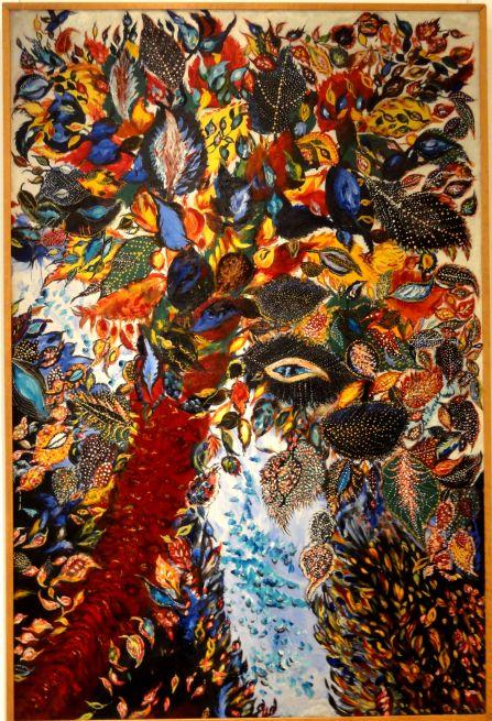 Séraphine Louis, Der Baum des Paradieses, um 1929-1930. Lack auf Leinwand, 195 x 130 cm. Musée d'Art et d'Archéologie, Senlis.