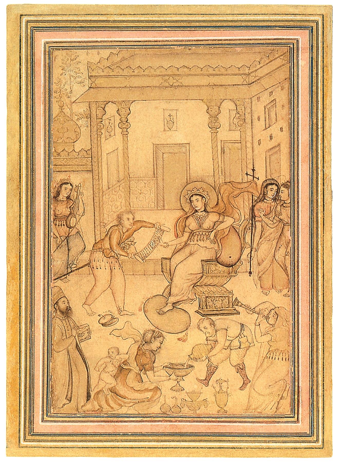 Anónimo, Escena de corte en Europa, 1600. Aguada y tinta, 33,5 x 20,8 cm. Virginia Museum of Fine Arts, Richmond, Virginia.