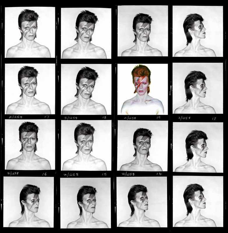"""Brian Duffy, planche contact pour la couverture de l'album """"Aladdin Sane"""", 1973. Photo Duffy © Duffy Archive & The David Bowie Archive."""