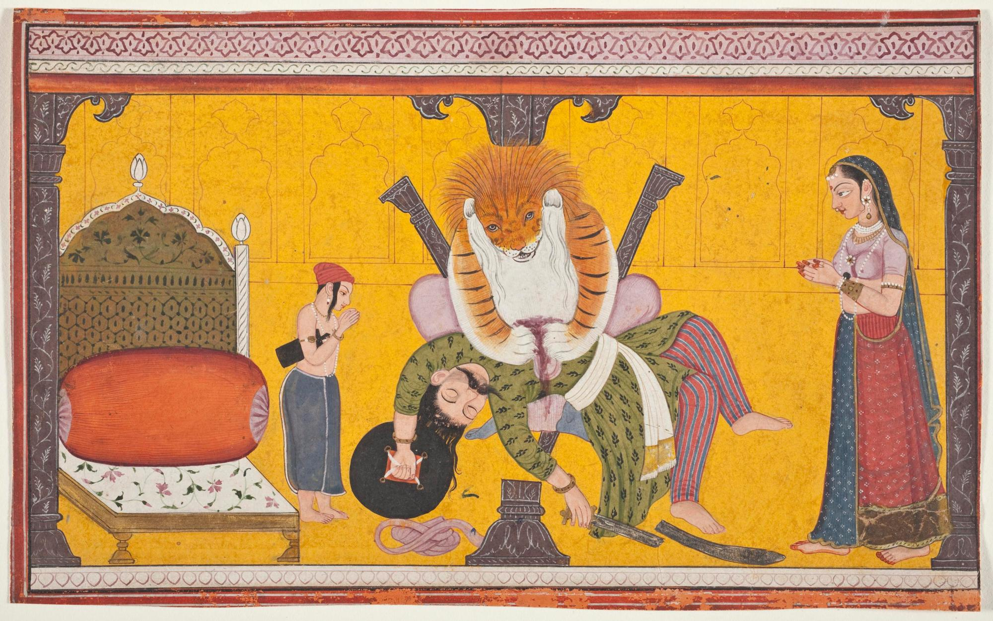 Narasimha Disemboweling Hiranyakashipu, Folio from a Bhagavata Purana (Ancient Stories of the Lord), c. 1760-1770. Opaque watercolour and gold on paper, 12.1 x 23.5 cm. Los Angeles County Museum of Art, Los Angeles.
