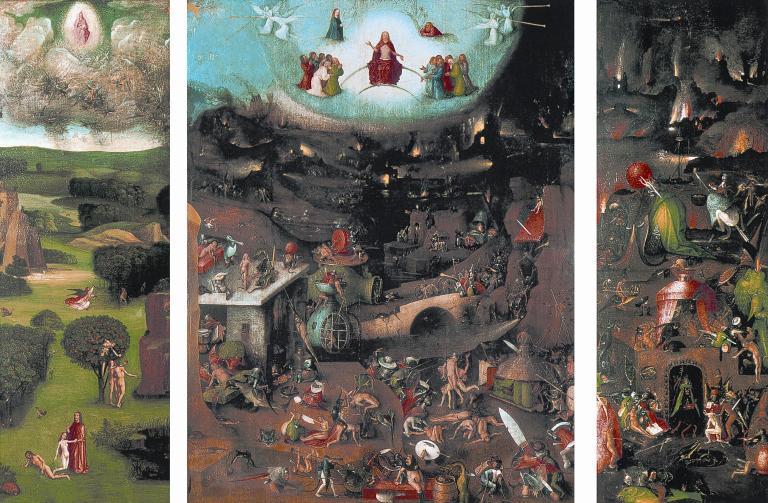 Hieronymus Bosch, Das Weltgerichtstryptichon, 1504-1508. Öltempera auf Holz/Eiche, Mitteltafel: 164 x 127 cm, Flügel je: 164 x 60 cm. Gemäldegalerie der Akademie der bildenden Künste Wien, Wien.
