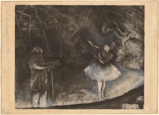 Edgar Degas, Der Ballettmeister, um 1874. Monotypie, mit weißer Kreide oder Lavierung gehöht, 62 x 85 cm. National Gallery of Art, Washington, D. C.