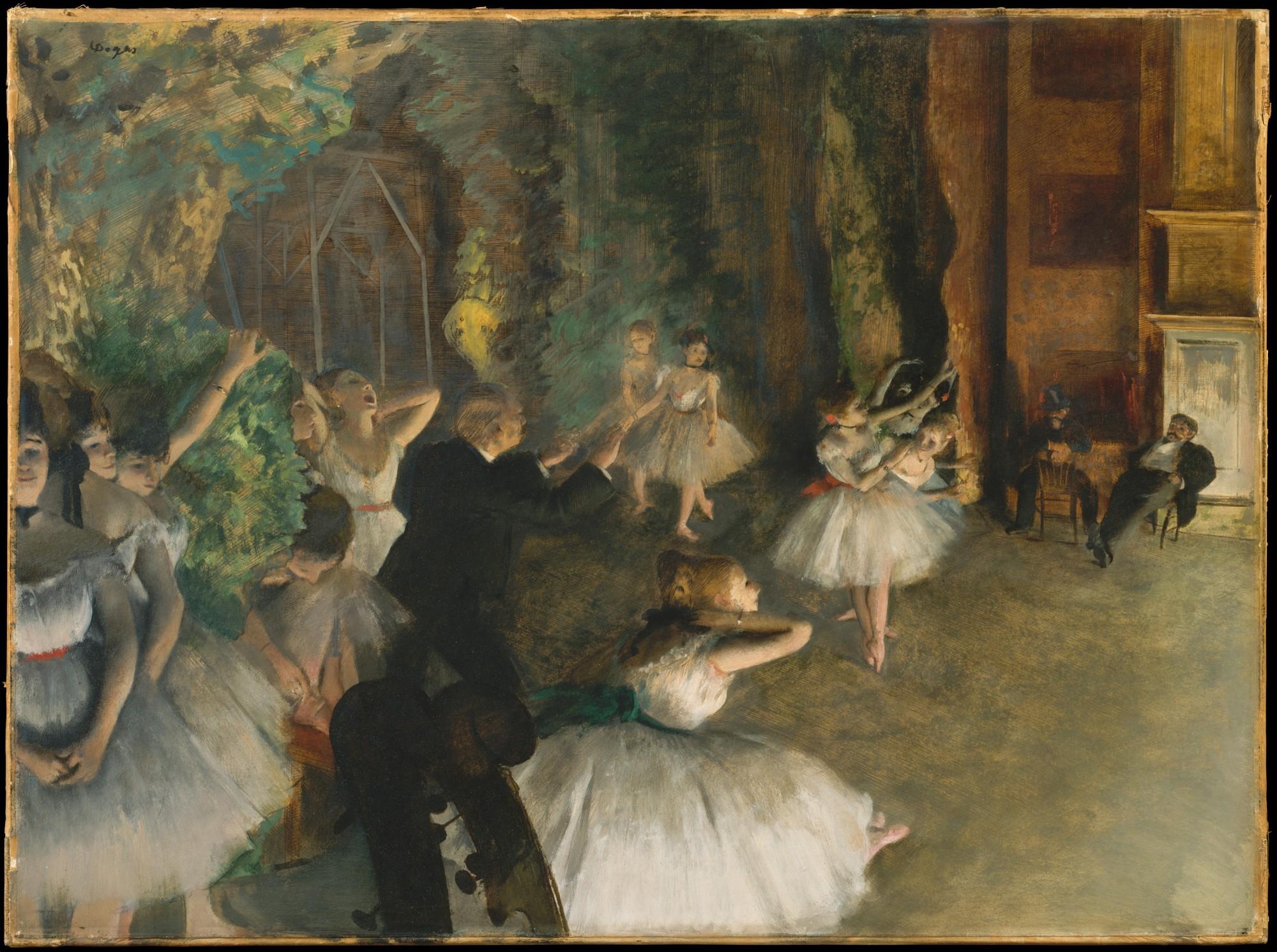 Edgar Degas, Ballettprobe auf der Bühne, um 1874. Ölfarben, gemischt mit Terpentin, mit Spuren von Aquarell und Pastell über Tuschzeichnung auf cremefarbenem Velinpapier, 54,3 x 73 cm. The Metropolitan Museum of Art, New York.