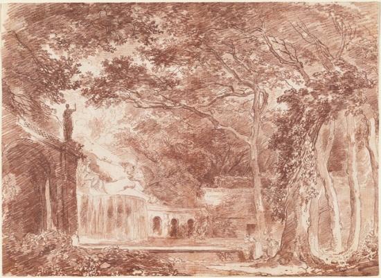 La Fontaine ovale dans les jardins de Tivoli, 1760. Sanguine sur papier, 32.7 x 45.1 cm. National Gallery of Art, Washington.