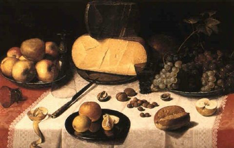 Floris Claesz. van Dyck (ca. 1575 – 1651). Still Life with Fruit, Olives and Chinese Porcelain. Oil on oak panel. San Diego Museum of Art, San Diego (California) On loan from the Grasset Collection.