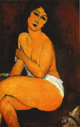 Nudo seduto, 1917. Olio su tela, 100 x 62 cm. Collezione privata.