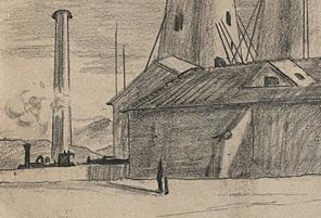 Giorgio de Chirico, Solitudine (Detail), 1917. Bleistift auf Papier, 22,4 x 32 cm. The Museum  of Modern Art, New York.