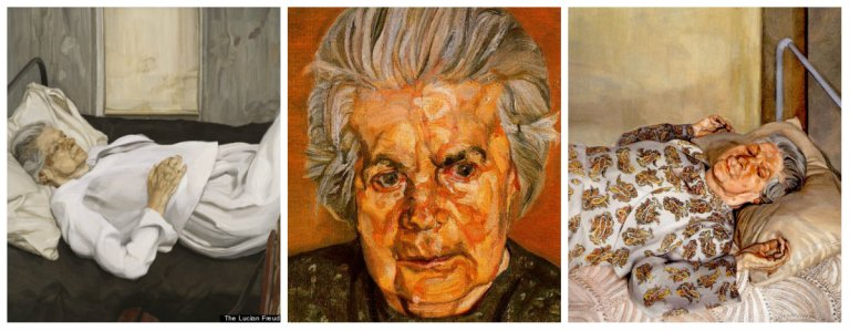 Left: The Painter's Mother Resting, 1976. Oil on Canvas. Private collection. Centre: The Painter's Mother. Oil on Canvas. Private collection. Right: The Painter's Mother Resting I, 1975-1976. Oil on Canvas, 91.5 x 91.5 cm. Private collection