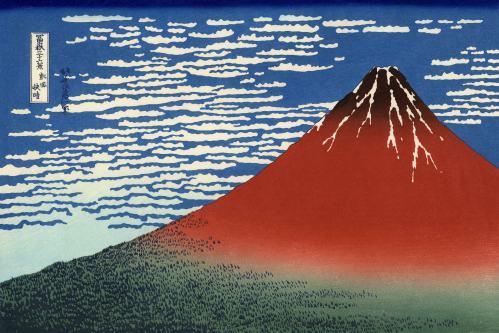 Katsushika Hokusai, Frischer Wind am hellen Morgen oder Der rote Fuji, aus der Serie 36 Ansichten des Berges Fuji, um 1830. Nishiki-e (Farbholzschnitt), 26,1 x 38,2 cm. British Museum, London.