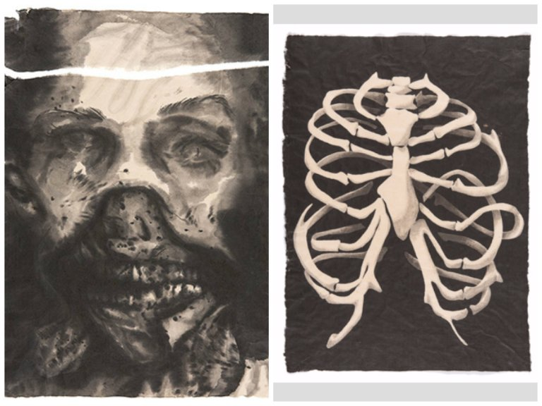 Left: Truc-Anh. Striptease. Chinese ink on rice paper. 70 x 51 cm. 2015, Right: Truc-Anh. Soul Archive #02. Chinese ink on rice paper. 68.5 x 49.8 cm. 2015