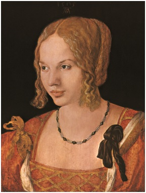阿尔布雷特•丢勒(Albrecht Durer),《一个年轻女人的画像》,1505年。木板油画,26X35cm。维也纳艺术史博物馆。