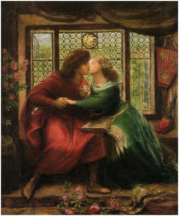但丁•加百利•罗塞蒂(Dante Gabriel Rossetti),《保罗和佛兰切斯卡•达•里米尼》(Paolo and Francesca da Rimini,1867)。水彩,水粉,阿拉伯树胶,两页,43.7*36.1cm,维多利亚国家美术馆,墨尔本。