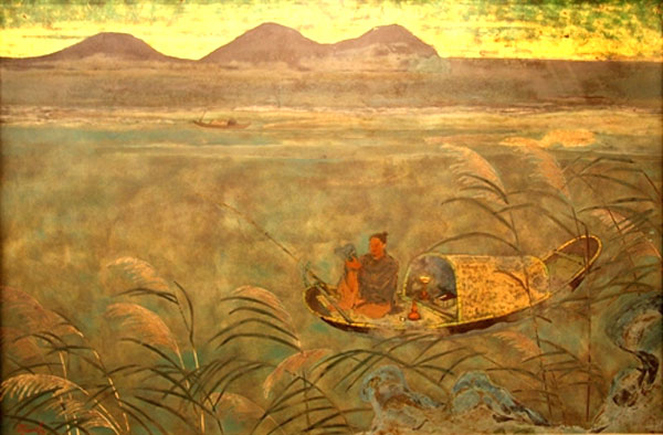 Fake credited to Nguyen Tien Chung. Great Poet Nguyen Du Goes Fishing. Lacquer.