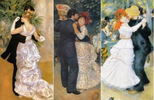 从左到右:皮埃尔•奥古斯特•雷诺阿,《城市之舞》(Dance in the City),1883年。帆布油画,180*90cm。法国奥赛美术馆,巴黎。皮埃尔•奥古斯特•雷诺阿,《乡村之舞》(Dance in the country),1883年。帆布油画,180*90cm。法国奥赛美术馆,巴黎。皮埃尔•奥古斯特•雷诺阿,《布吉瓦尔之舞》(Dance in the Bougival),1883年。帆布油画,181.9*98.1cm。美国波士顿艺术博物馆。