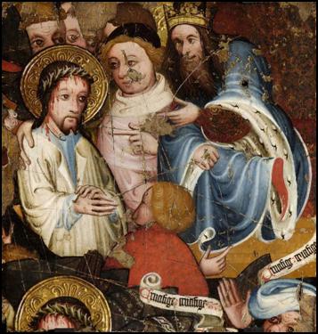 《被钉上十字架之前的基督》(Christ before Pilate),佚名作者,约1400-1425年。嵌板蛋彩画, 29.8 x 33 cm. 费茨威廉博物馆,剑桥大学。